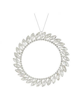 John Lewis & Partners Moonstone Jewel Wreath Tree Decoration, Silver by John Lewis & Partners