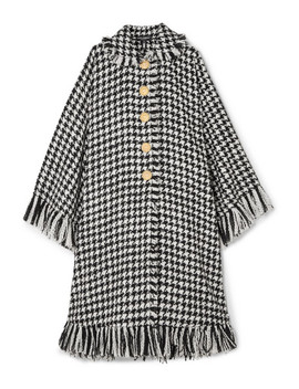 Oversized Fringed Houndstooth Wool Blend Cape by Dolce & Gabbana