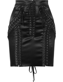 Lace Up Stretch Satin Mini Skirt by Dolce & Gabbana