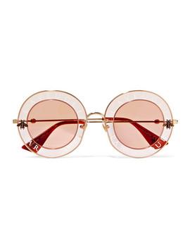 Sonnenbrille Mit Rundem Rahmen Aus Bedrucktem Azetat Und Goldfarbenem Metall by Gucci