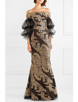 Off The Shoulder Embellished Corded Lace And Tulle Gown by Marchesa