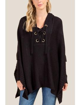 Stacie Long Sleeve Hooded Poncho by Francesca's