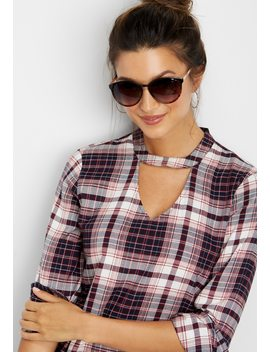 Plaid Keyhole Neck Top by Maurices