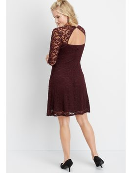 Open Back Lace Skater Dress by Maurices