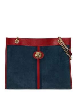 Linea Tiger Large Suede Shoulder Tote Bag by Gucci