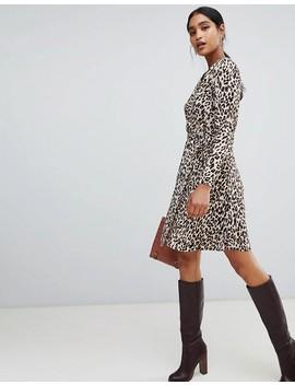Liquorish Leopardmönstrad Omlottklänning I Midi Modell by Asos