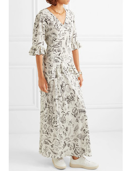 + Laura Jackson Frieda Ruffled Printed Silk Maxi Dress by Rixo London