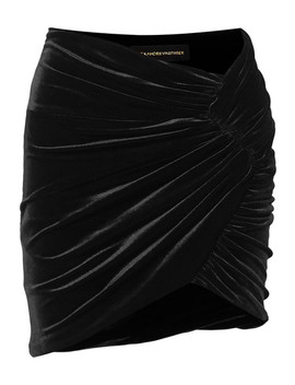 Ruched Stretch Velvet Mini Skirt by Alexandre Vauthier