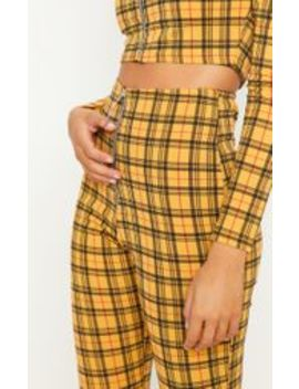 Yellow Check Zip Front Trouser by Prettylittlething