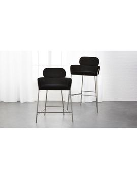 Azalea Black Faux Mohair Bar Stools by Crate&Barrel