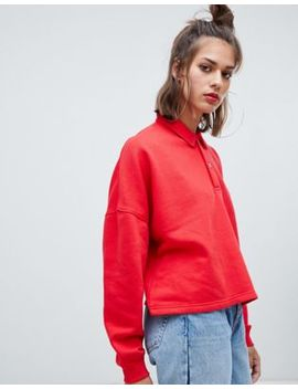 Pull&Bear Long Sleeved Rugby Top In Red by Pull&Bear