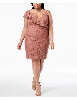 Trendy Plus Size Ruffled Lace Bodycon Dress by Soprano