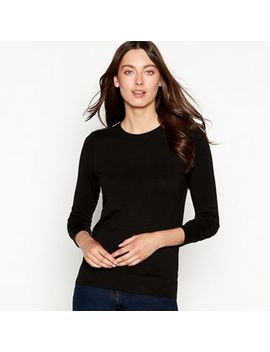The Collection   Black Zipped Shoulder Long Sleeve Jumper by The Collection