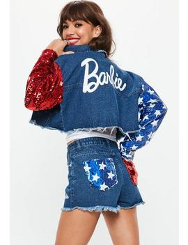 Barbie X Missguided Blue American Flag Sequin Arms Cropped Denim Jacket by Missguided