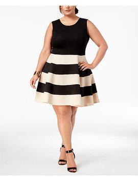 Trendy Plus Size Striped A Line Dress by City Studios