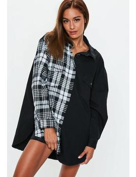 Black Oversized Splice Tartan Check Denim Shirt by Missguided