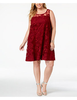 Plus Size Illusion Floral Embroidered Shift Dress by Robbie Bee