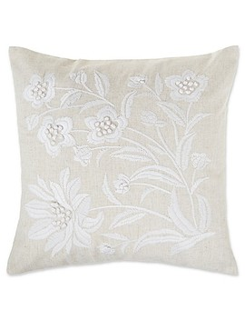 Make Your Own Pillow Floral Embellished Square Throw Pillow Cover In Natural by Bed Bath And Beyond