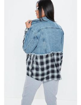 Plus Size Blue Denim Check Detail Jacket by Missguided