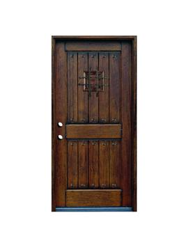 36 In. X 80 In. Rustic Mahogany Type Right Hand Inswing Stained Distressed Speakeasy Solid Wood Prehung Front Door by Home Depot