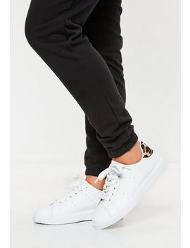 White Leopard Colour Tab Back Flatform Trainers by Missguided