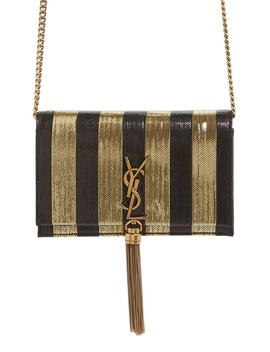 Kate Metallic Stripe Wallet On A Chain by Saint Laurent