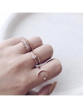 Rose Gold Open Moon Star Dainty Ring, Silver Adjustable Cubic Zirconia Galaxy Ring, Minimal Stacking Ring, Crescent Stella Friendship Ring by Etsy