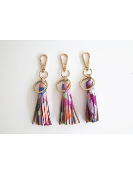 Sale   Handpainted And Handcrafted Leather Tassel Keyring/ Bag Charm  Orchid by Etsy