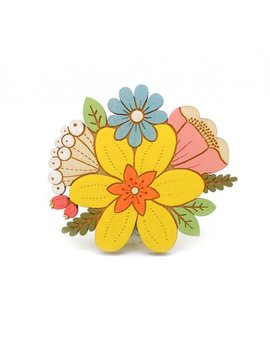 Daffodil Posy Brooch ~ Hand Painted Laser Cut Flower Brooch by Etsy