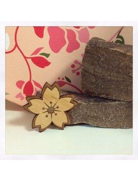 Laser Cut Wooden Sakura Brooch by Etsy