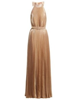 Pleated Halterneck Gown by Luisa Beccaria