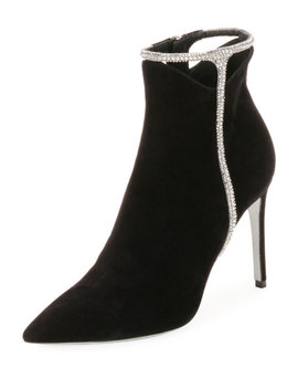 Suede Booties With Strass Detail by Rene Caovilla