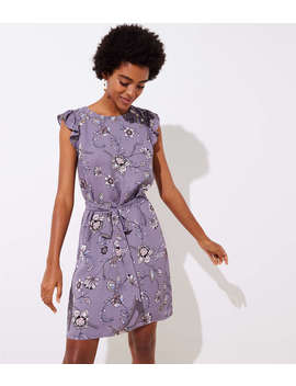 Petite Lilac Garden Button Flutter Dress by Loft