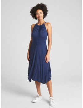 Halter Neck Handkerchief Midi Dress by Gap