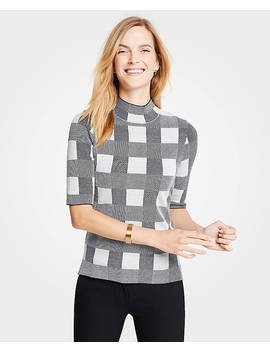 Plaid Mock Neck Elbow Sleeve Sweater by Ann Taylor