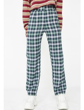 Post N' Delete Plaid Trousers by Love Harmony