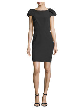 Italian Cady Gather Sleeve Mini Dress by Neiman Marcus