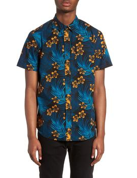 Short Sleeve Print Poplin Shirt by The Rail