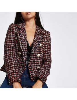 Petite Red Check Boucle Double Breast Jacket by River Island