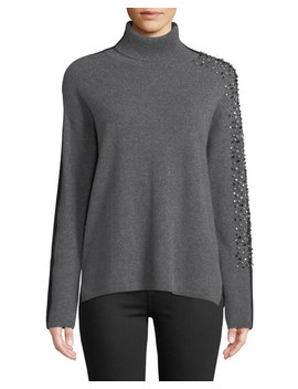 Two Tone Embellished Sleeve Turtleneck Sweater by Neiman Marcus Cashmere Collection