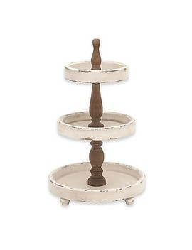 Ridge Road Décor 3 Tier Rustic Wood Serving Stand In Oak/White by Bed Bath And Beyond