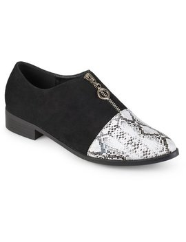 Brinley Co. Women's Zipper Snake Print Faux Suede Loafers by Brinley Co.