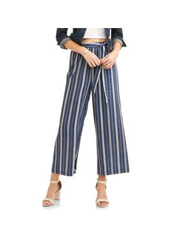 Women's Wide Leg Printed Cropped Pants With Tie Detail by Moda