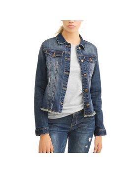 Women's Fray Hem Denim Trucker Jacket by Walmart