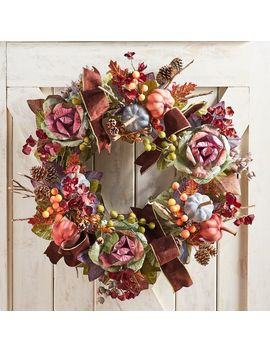 "Luxe Faux Cabbage Rose & Pumpkin 30"" Oversized Wreath by Wild Wood Collection"