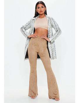 Camel Faux Suede Flared Trousers by Missguided