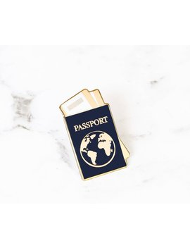 Passport Enamel Pin by Etsy