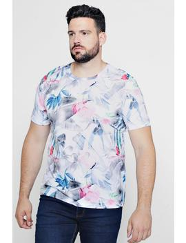 Big And Tall Short Sleeve Floral Printed T Shirt by Boohoo
