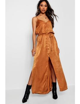 Nicole Hammered Satin Button Maxi Dress by Boohoo
