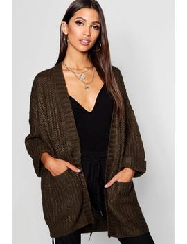Oversized Cardigan With 3/4 Roll Back Sleeves by Boohoo